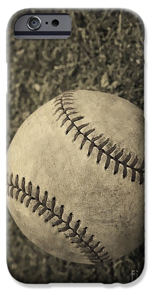 Memories iPhone Cases - Old Baseball iPhone Case by Edward Fielding