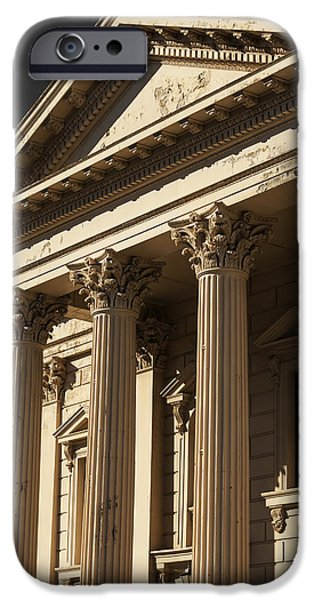 Town iPhone Cases - Old Building with Corinthian Pillars iPhone Case by Maxwell Jordan
