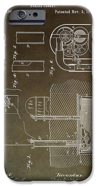 Haunted House iPhone Cases - Old Casket Patent iPhone Case by Dan Sproul