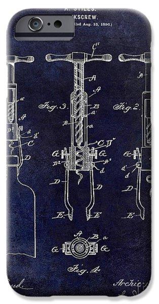 Wine Bottles iPhone Cases - 1898  Corkscrew Patent Drawing iPhone Case by Jon Neidert