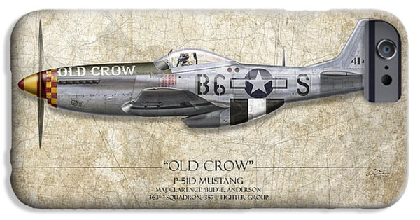 P-51 Mustang iPhone Cases - Old Crow P-51 Mustang - Map Background iPhone Case by Craig Tinder