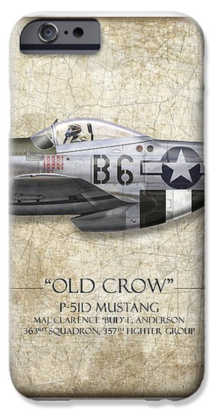 Old Crow P-51 Mustang - Map Background iPhone Case by Craig Tinder