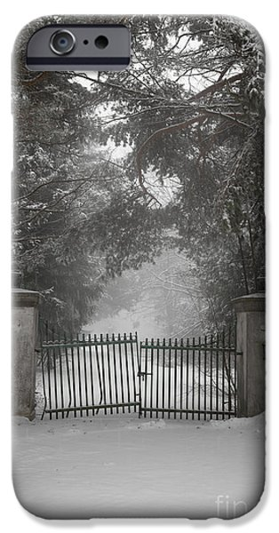 Snowy iPhone Cases - Old driveway gate in winter iPhone Case by Elena Elisseeva