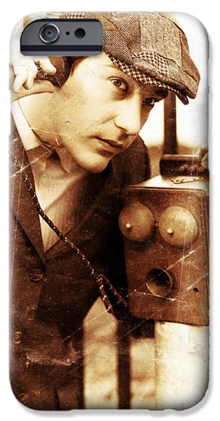 Electrical Equipment iPhone Cases - Old Fashioned Vintage Man Talking Through Antique Phone iPhone Case by Ryan Jorgensen
