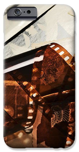 Old film strip and photos background iPhone Case by Michal Bednarek