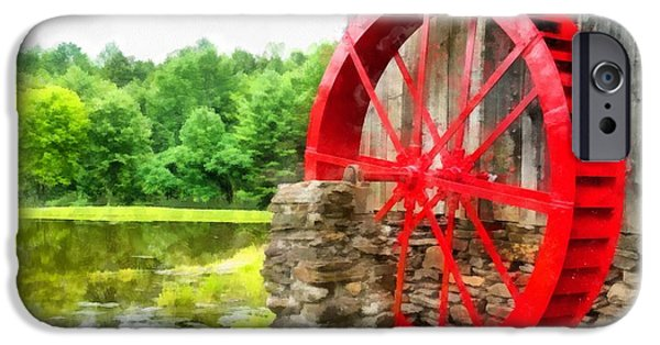Old Mill Scenes iPhone Cases - Old Grist Mill Vermont Red Water Wheel iPhone Case by Edward Fielding