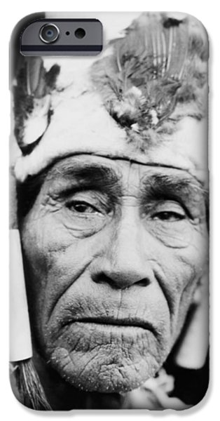 Portrait Of Old Man iPhone Cases - Old Klamath Man circa 1923 iPhone Case by Aged Pixel