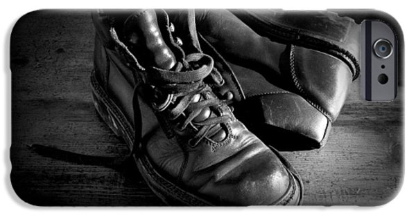 Shoe iPhone Cases - Old leather shoes iPhone Case by Fabrizio Troiani