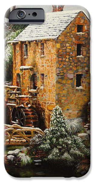 Old Mill Scenes iPhone Cases - Old Mill in Winter iPhone Case by Glenn Beasley
