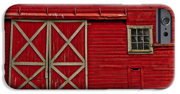 Old Barn iPhone Cases - Old Red Barn iPhone Case by Bonnie Bruno