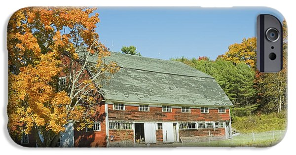 Farm iPhone Cases - Old Red Barn In Maine iPhone Case by Keith Webber Jr