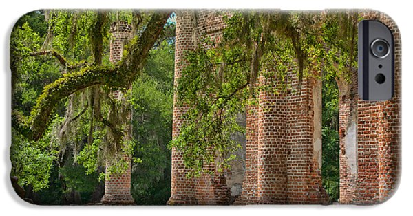 Ruin iPhone Cases - Old Sheldon Church iPhone Case by Shirley Radabaugh