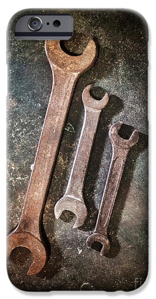 Stainless iPhone Cases - Old Spanners iPhone Case by Carlos Caetano