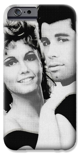 Recently Sold -  - 1950s Portraits iPhone Cases - Olivia Newton John and John Travolta in Grease Collage iPhone Case by Tony Rubino