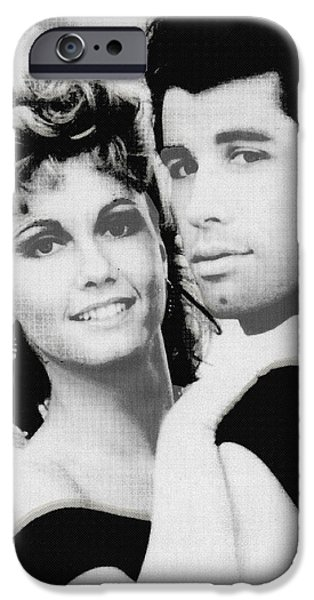 1950s Portraits iPhone Cases - Olivia Newton John and John Travolta in Grease Collage iPhone Case by Tony Rubino