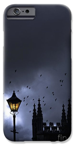 Night Lamp iPhone Cases - On A Cold Dark Night iPhone Case by Margie Hurwich
