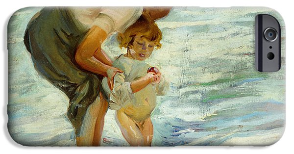 Paddle iPhone Cases - On the Beach iPhone Case by Joaquin Sorolla y Bastida