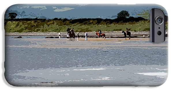 Beach Landscape Mixed Media iPhone Cases - On The Beach iPhone Case by Patrick J Murphy