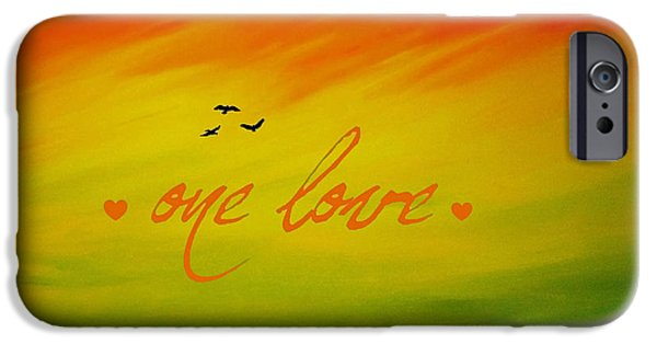 Abstract Digital Paintings iPhone Cases - One Love iPhone Case by Cyryn Fyrcyd