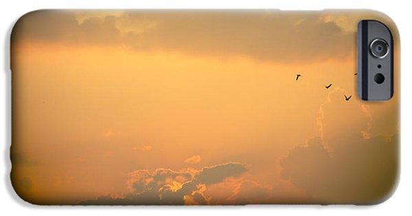 Tibetan Buddhism iPhone Cases - Orange Sky  iPhone Case by Raimond Klavins