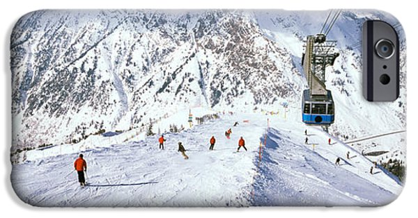 Snowbird iPhone Cases - Overhead Cable Car In A Ski Resort iPhone Case by Panoramic Images