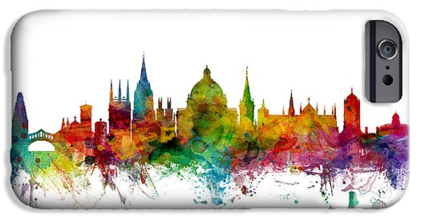 Britain iPhone Cases - Oxford England Skyline iPhone Case by Michael Tompsett