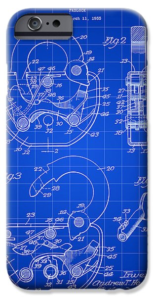 Mechanism iPhone Cases - Padlock Patent 1935 - Blue iPhone Case by Stephen Younts
