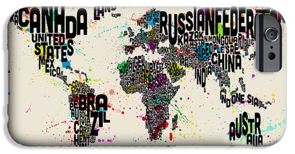 Text Map iPhone Cases - Paint Splashes Text Map of the World iPhone Case by Michael Tompsett