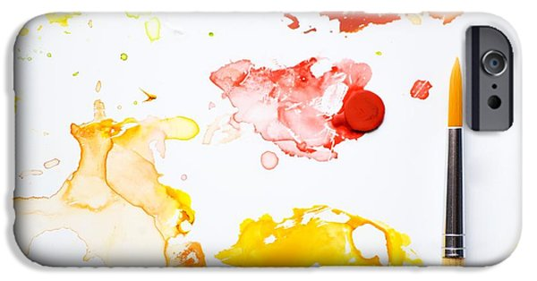 Painted iPhone Cases - Paint Splatters And Paint Brush iPhone Case by Chris Knorr