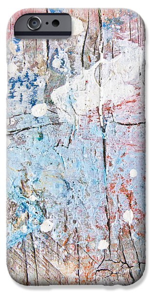 Old Plank Tables Photographs iPhone Cases - Paint stains iPhone Case by Tom Gowanlock