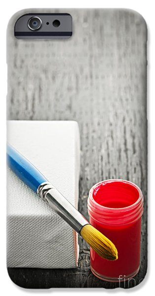 Painter Photographs iPhone Cases - Paintbrush on canvas iPhone Case by Elena Elisseeva