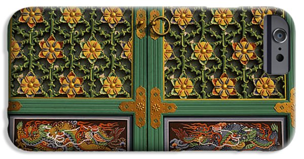 Buddhist iPhone Cases - Paintings On The Door Of A Buddhist iPhone Case by Panoramic Images