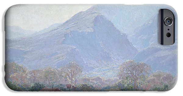 Landscape With Mountains iPhone Cases - Palm Springs Landscape with Shack iPhone Case by John Frost