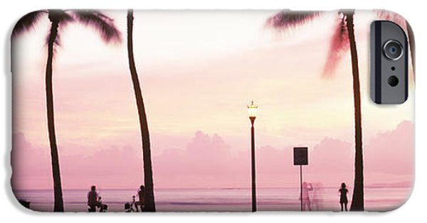 Getting Away From It All iPhone Cases - Palm Trees On The Beach, Waikiki iPhone Case by Panoramic Images