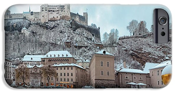 Recreation Building iPhone Cases - Panorama of Salzburg in the Winter iPhone Case by Sabine Jacobs
