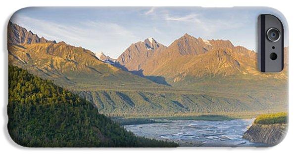 Matanuska iPhone Cases - Panorama View Of The Matanuska River iPhone Case by Michael DeYoung