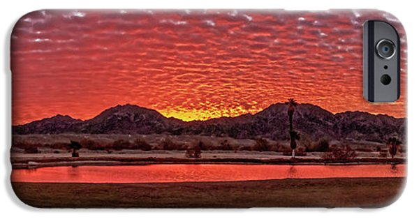 Haybale iPhone Cases - Panoramic Sunrise iPhone Case by Robert Bales