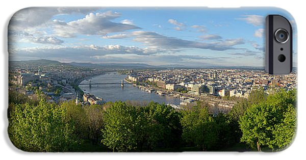 River View Pyrography iPhone Cases - Panoramic view of Budapest iPhone Case by Oliver Sved