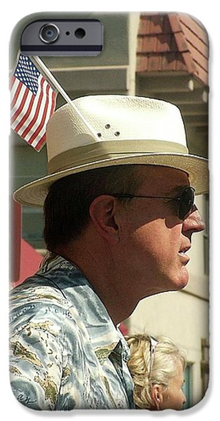 Prescott iPhone Cases - Parade Watcher Flag In Hat July 4th Prescott Arizona 2002 iPhone Case by David Lee Guss