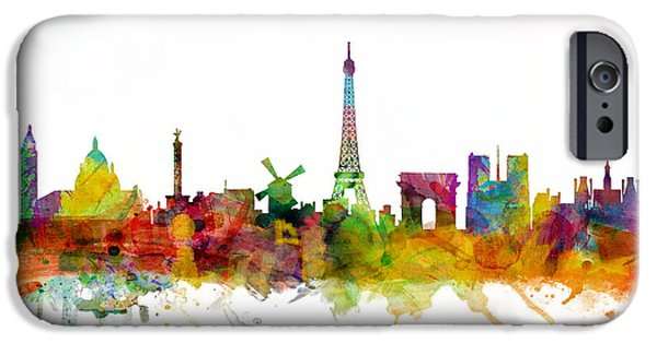 Paris iPhone Cases - Paris France Skyline iPhone Case by Michael Tompsett