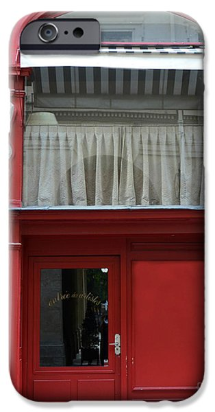 Photos With Red iPhone Cases - Paris Red Door Photography - Paris Red Cafe - Red and White Architecture Art Nouveau Art Deco iPhone Case by Kathy Fornal
