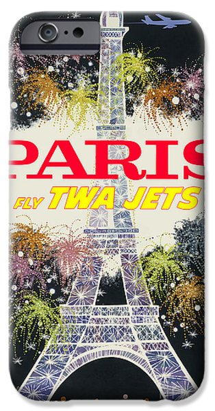 Fashion Design Art iPhone Cases - Paris Vintage Travel Poster iPhone Case by Jon Neidert