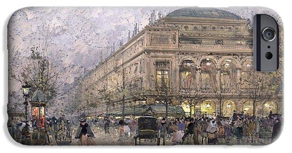 Nineteenth iPhone Cases - Parisian Street Scene iPhone Case by Eugene Galien-Laloue