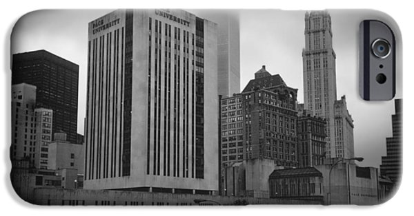 Twin Towers Nyc iPhone Cases - 1  Park Plaza and the Woolworth iPhone Case by Joann Vitali
