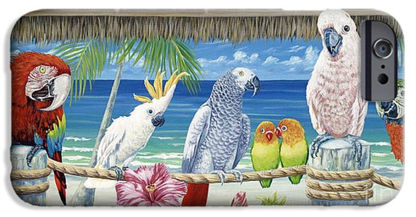 On Paper Paintings iPhone Cases - Parrots in Paradise iPhone Case by Danielle  Perry