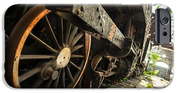 Industrial Pyrography iPhone Cases - Part of an old industrial train iPhone Case by Oliver Sved