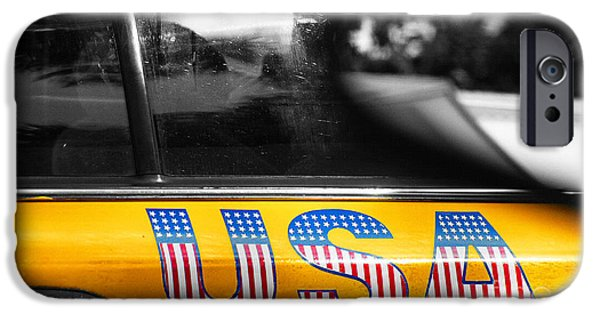 Brooklyn Bridge Mixed Media iPhone Cases - Patriotic USA  NYC Taxi in Yellow and BW iPhone Case by Anahi DeCanio - ArtyZen Studios