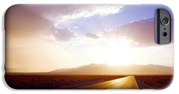 Asphalt iPhone Cases - Paved Road At Sunset, Death Valley iPhone Case by Panoramic Images