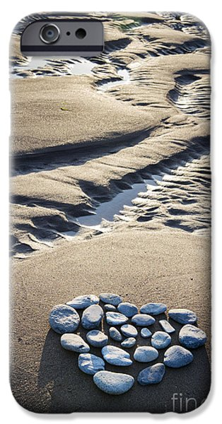 Pebbles iPhone Cases - Pebble Beach Heart iPhone Case by Tim Gainey