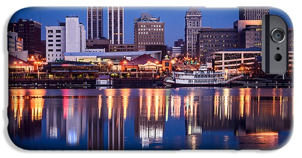 Business iPhone Cases - Peoria Illinois Skyline at Night iPhone Case by Paul Velgos